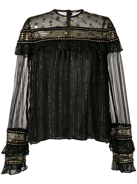 blouse metallic women black top