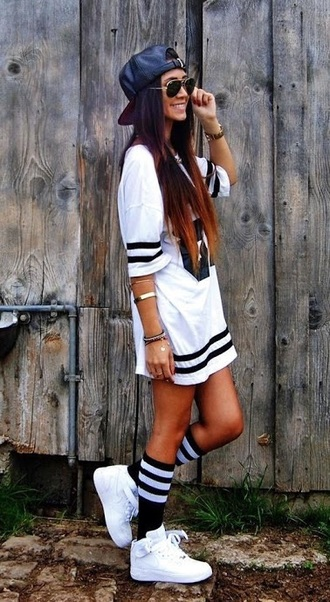 white black cap cute girl swag jewels nike dope socks sunglasses fashion style top jordans straight hair white girls