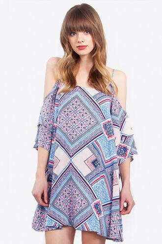 dress blue cut-out print white summer dress bikiniluxe