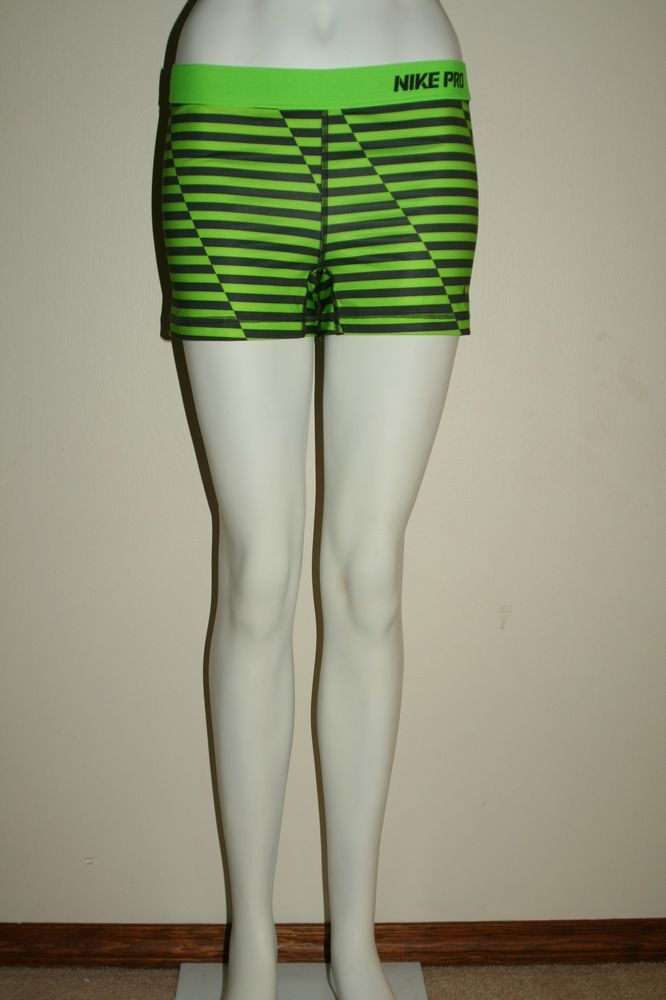 Nike Pro Combat Compression Short Shorts Running Green Striped Women's Large L | eBay