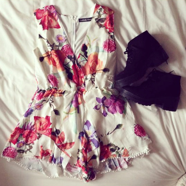 floral flowers pink white orange v neck shoes black boots roses print vintage floral dress