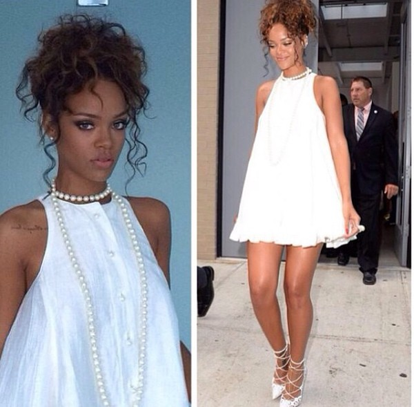 white dress rihanna dress colorful material fabric rihanna white
