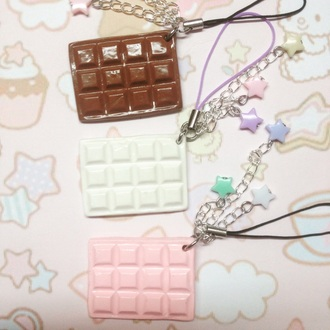 phone cover chocolate brown pink strawberry mik cream white cellphone strap cute kawaii pastel