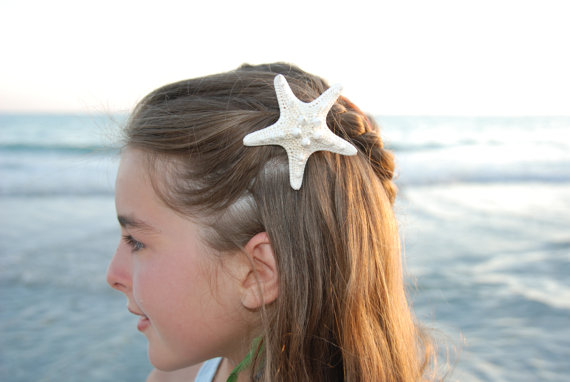 Medium starfish hair clip  white knobby sea by indiansummergirls