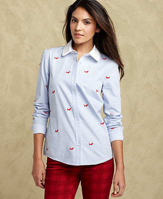 Tommy Hilfiger Shirt, Long-Sleeve Embroidered - Tops - Women - Macy's