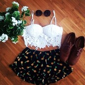 pinapples,blouse,black pineapple shorts,lace,shorts,top,flowers,white,cute,summer outfits,summer top,crop tops