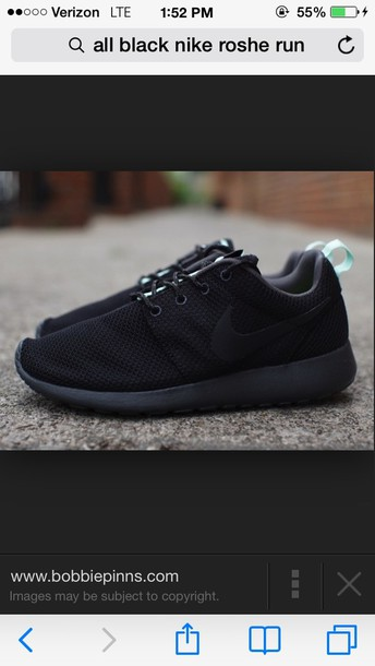 shoes black nike roshe run
