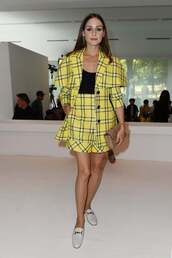shorts,olivia palermo,blogger,fashion week,yellow