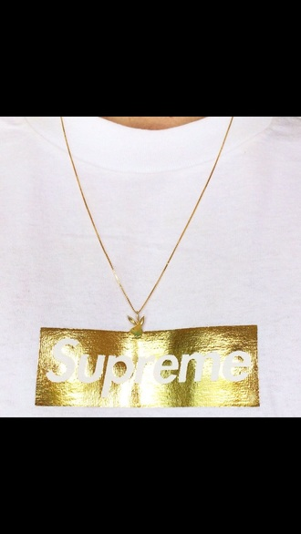 t-shirt gold supreme