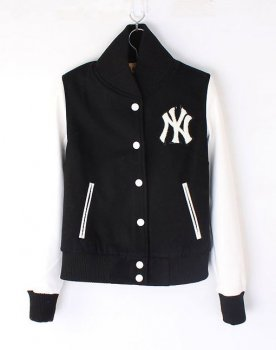 Womens NY Yankee Baseball jacket Black White [Womens NY Yankee Black White] - $115.00 : Varsity Letterman Jackets,Varsity Jackets For Girls Online Store!