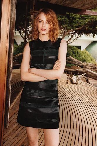 dress summer dress black dress little black dress emma stone editorial leather