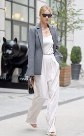 jacket,blazer,grey blazer,white jumpsuit,chain necklace,mules,bag,sunglasses