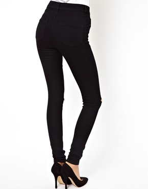 ASOS | ASOS Ridley High Waist Ultra Skinny Jeans in Clean Black with Rips at ASOS