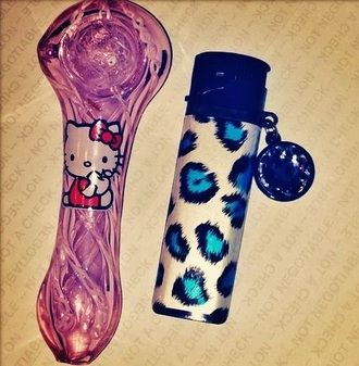 home accessory pipe weed pipe glitter hello kitty smoke