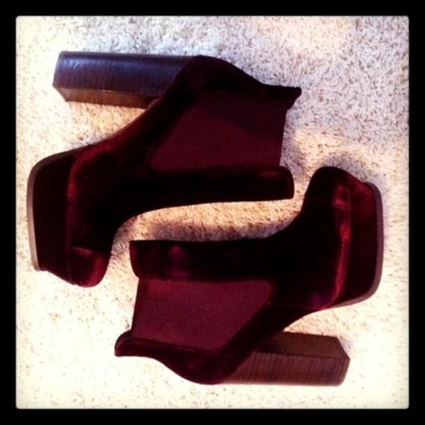red platforms velvet boot shoes velvet shoes