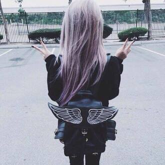 bag fashion perfect indie grunge freak tumblr psycho cute purple hair amazing night ootd weheartit