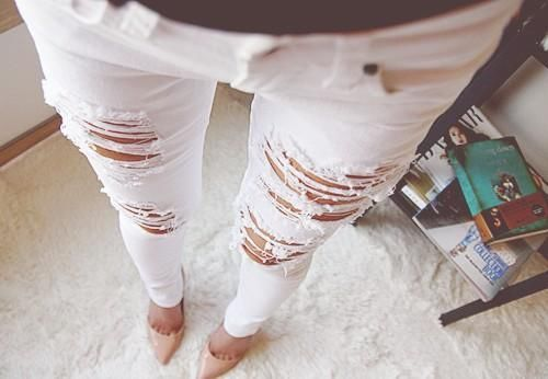MACHINE JEANS RIPPED DISTRESSED DESTROYED WHITE SKINNY SLIM ...