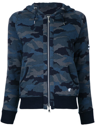 jacket women camouflage cotton print blue