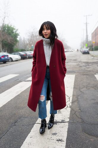 the fancy pants report blogger jewels sweater coat jeans shoes red coat turtleneck sweater winter outfits
