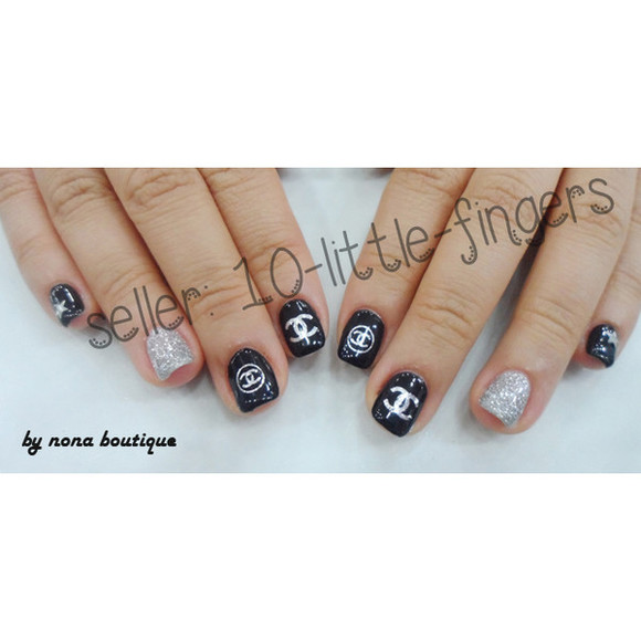 color brand nail polish prada nail accessories nail art diy nail decoration silver chanel symbol logo designer glitter polish louis vuitton stickers decals Nails
