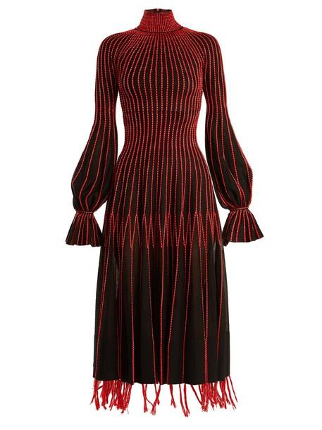 Alexander Mcqueen dress silk dress high silk black red