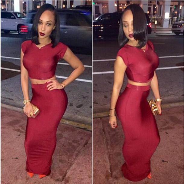 Red maxi bodycon dress