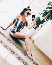 top,agaci,july 4th,summer,summer outfits,stripes,two-piece,short set,off the shoulder,office outfits,off the shoulder top,striped top,striped shorts
