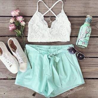 shorts mint short summer outfits summer shorts summer lace up lace lingerie lace bra lace romper top lace top crochet tumblr white top white shoes glasses blue white