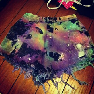 shorts galaxy print frayed studded galaxy shorts high waisted shorts colorful