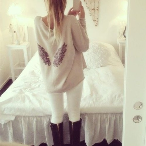 sweater wings fashion girl teenagers beige cute