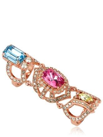 ring blue pink jewels