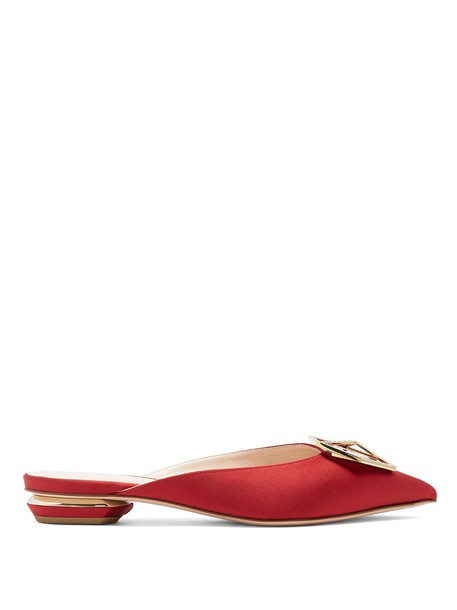 backless embellished loafers satin red shoes