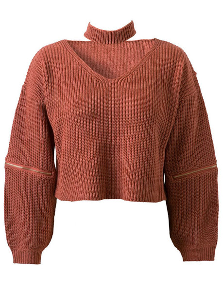 sweater fashion knitwear long sleeves style trendy orange fall outfits choker necklace zaful