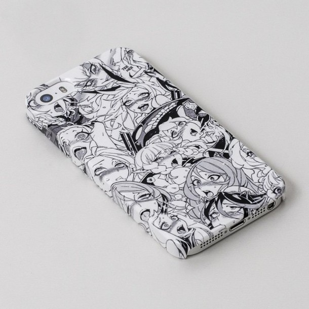 phone cover black and white anime comics phone cover white phone case hentai