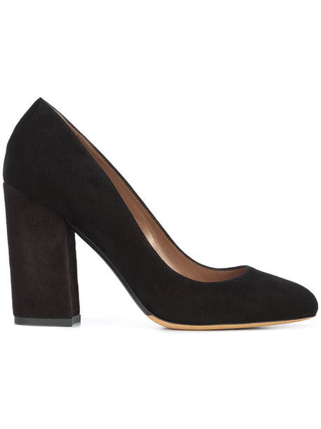 tabitha simmons heel women pumps leather suede black shoes