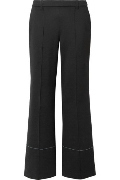 pants wide-leg pants black neoprene