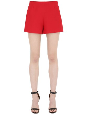 shorts couture silk wool red