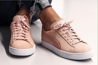 shoes puma sneakers pink low top sneakers