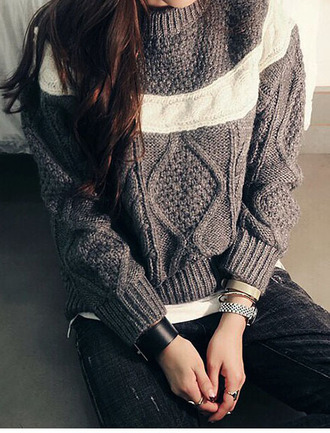 sweater pullover grey sweater grey knitted sweater hoodie