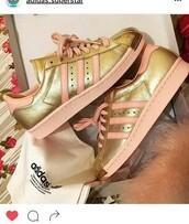 shoes,rose gold adidas,gold,adidas superstars,adidas
