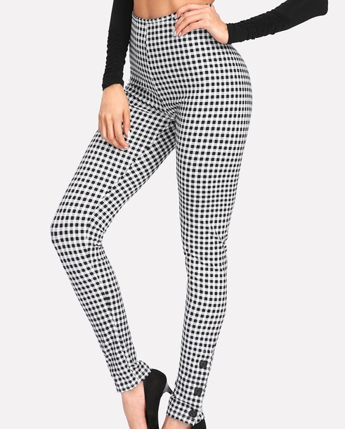 pants girly girl leggings checkered high waisted