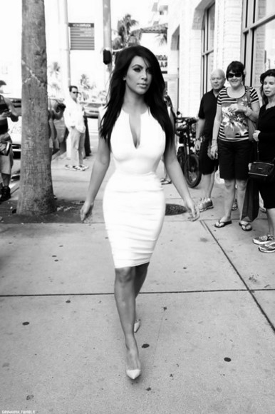 dress white dress white white bodycon dress kim kardashian