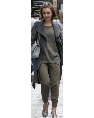 jacket shoes lily collins purse grey bag