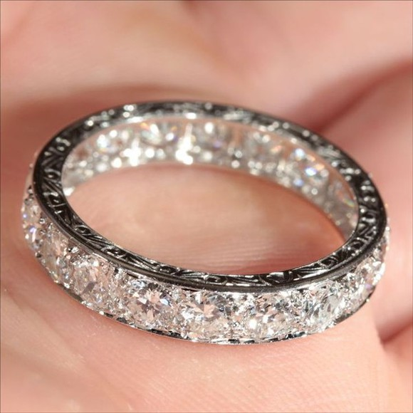 jewels ring silver ring crystals diamonds engraved wedding band, rings