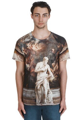 t-shirt brown menswear urban menswear printed t-shirt print all over print t-shirt full print t-shirt mens t-shirt