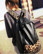 bag,faux leather,backpack,leopard print,studs,soft