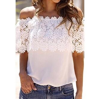 blouse shirt top lace white