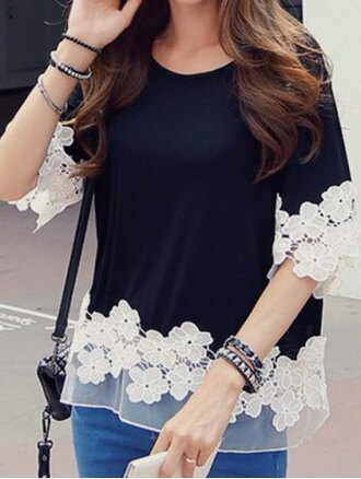 t-shirt lace casual girly white black feminine flowers embroidered mesh black and white cute fashion style kawaii summer rose wholesale-feb