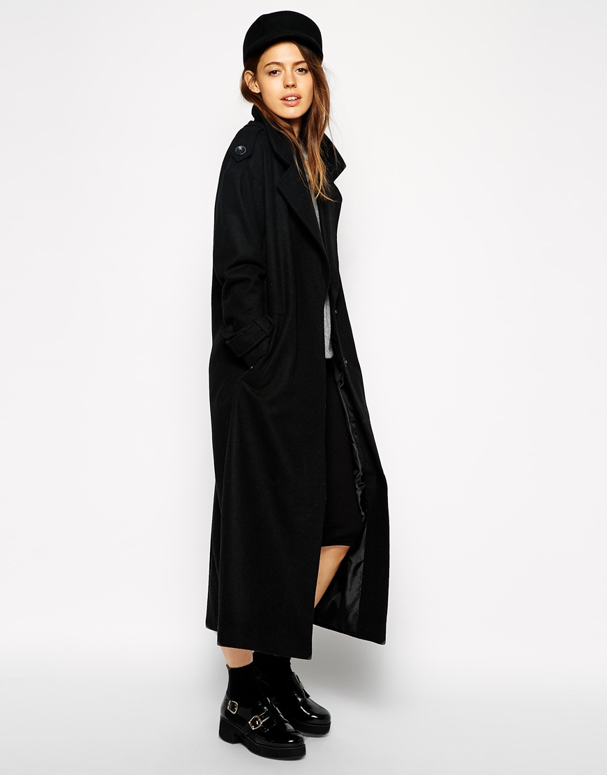 Asos coat with military detail in maxi length at asos.com