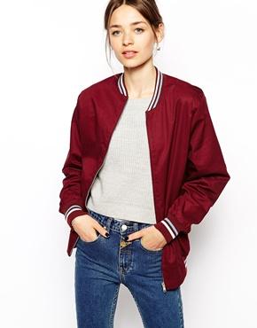 Pop Boutique | Pop Boutique Bomber Jacket With Varsity Trim at ASOS